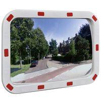 Konveksno pravokutno prometno ogledalo 40 x 60 cm s reflektorima