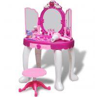 Dječji Stol za Šminkanje s 3 Ogledala i Svjetlom/Zvukom