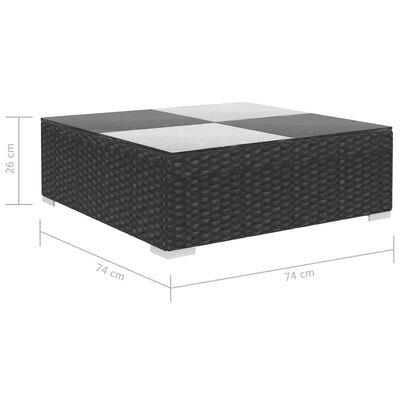 vidaXL 6-dijelna vrtna garnitura od poliratana s jastucima crna