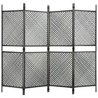 vidaXL Sobna pregrada od poliratana s 4 panela antracit 240 x 200 cm
