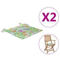 vidaXL Jastuci za vrtne stolice 2 kom uzorak lišća 40x40x4 cm tkanina