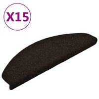 vidaXL Samoljepljivi otirači za stepenice 15 kom tamnosmeđi 65x21x4 cm