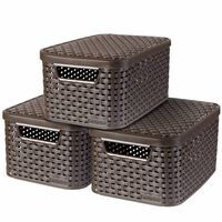 """Curver """"Style"""" Storage Box with Lid 3 pcs Size S Brown 240646"""