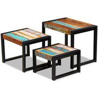 vidaXL 3-dijelni set uklapajućih stolića od masivnog obnovljenog drva
