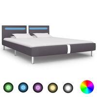 vidaXL Okvir za krevet od umjetne kože LED svjetlom sivi 180x200 cm