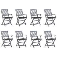 vidaXL Sklopive vrtne stolice s jastucima 8 kom od bagremovog drva