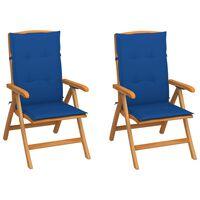 vidaXL Vrtne stolice 2 kom kraljevski plavi jastuci masivna tikovina