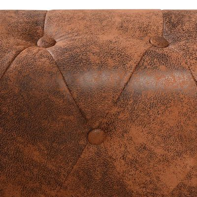 vidaXL Chesterfield Kutna Garnitura 6 Sjedala od Umjetne kože Smeđa