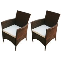 vidaXL Vrtne stolice 2 kom od poliratana smeđe