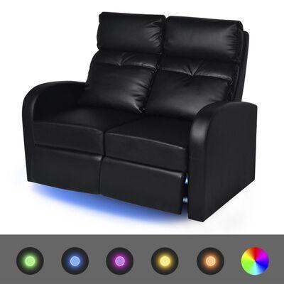 vidaXL LED Naslonjač Dvosjed od Umjetne kože Crni
