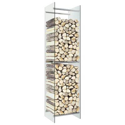 vidaXL Stalak za drva za ogrjev prozirni 40 x 35 x 160 cm stakleni