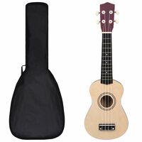 """vidaXL Set dječjeg ukulelea Soprano s torbom boja svijetlog drva 21 """""""