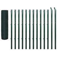 vidaXL Euro ograda 25 x 1,7 m čelična zelena