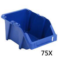 vidaXL 75 kom Skladišni složivi spremnici 153 x 244 x 123 mm plavi