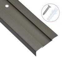 vidaXL Rubnjaci za stepenice L-oblika 15 kom aluminijski 134 cm smeđi