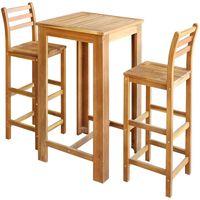 vidaXL Barski stol i stolice set 3 komada od masivnog drva akacije
