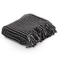 vidaXL Pamučni pokrivač na kvadratiće 160x210 cm crni