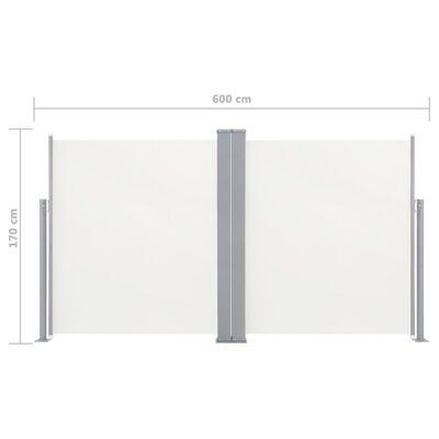 vidaXL Uvlačiva dvostruka bočna tenda za terasu 170 x 600 cm krem