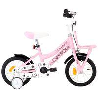 vidaXL Dječji bicikl s prednjim nosačem 12 inča bijelo-ružičasti