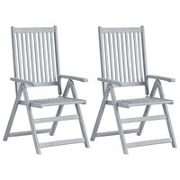 vidaXL Vrtne nagibne stolice 2 kom sive od masivnog bagremovog drva