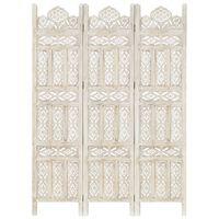 vidaXL Sobna pregrada s 3 panela bijela 120x165 cm masivno drvo manga