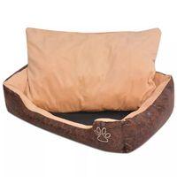 vidaXL Krevet za pse s jastukom PU umjetna koža veličina L Smeđi