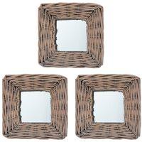 vidaXL Ogledala od pruća 3 kom 15 x 15 cm