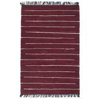 vidaXL Ručno tkani tepih Chindi od pamuka 160x230 cm bordo