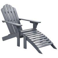 vidaXL Vrtna stolica s otomanom drvena siva