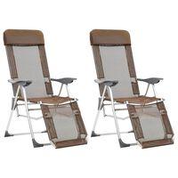 vidaXL Sklopive stolice za kampiranje 2 kom bež aluminijske
