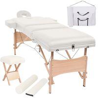 vidaXL Set sklopivog trodijelnog masažnog stola debljine 10 cm i stolca bijeli