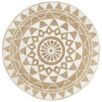 vidaXL Ručno rađeni tepih od jute s bijelim uzorkom 150 cm