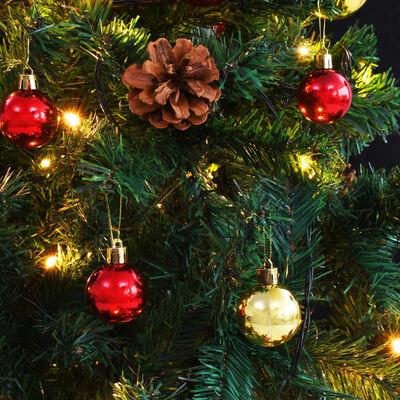 vidaXL Umjetno božićno drvce ukrašeno s kuglicama i LED žaruljicama 180 cm zeleno