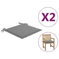 vidaXL Jastuci za vrtne stolice 2 kom sivi 50 x 50 x 4 cm