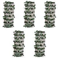 vidaXL Rešetkaste ograde od vrbe 5 kom s umjetnim lišćem 180 x 60 cm