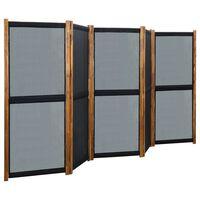 vidaXL Sobna pregrada s 5 panela crna 350 x 170 cm