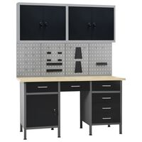 vidaXL Radni stol s četiri zidne ploče i dva ormarića