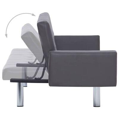 vidaXL Kauč na razvlačenje s osloncem za ruke od umjetne kože sivi