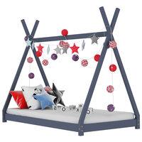 vidaXL Okvir za dječji krevet od masivne borovine sivi 90 x 200 cm