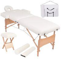 vidaXL Set sklopivog dvodijelnog masažnog stola 10 cm i stolca bijeli
