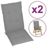 vidaXL Jastuci za vrtne stolice 2 kom sivi 120 x 50 x 4 cm