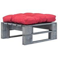 vidaXL Vrtni tabure od paleta s crvenim jastukom sivi drveni