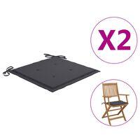 vidaXL Jastuci za vrtne stolice 2 kom antracit 40x40x4 cm od tkanine