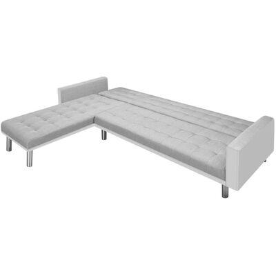 vidaXL Kutna sofa na razvlačenje od tkanine 218x155x69 cm bijelo-siva
