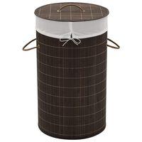 vidaXL Košara za rublje od bambusa okrugla tamnosmeđa