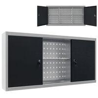vidaXL Zidni ormarić za alat u industrijskom stilu metalni sivo-crni