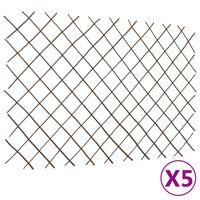 vidaXL Rešetkaste ograde od vrbe 5 kom 180 x 120 cm