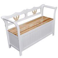 vidaXL Klupa za pohranu 126 x 42 x 75 cm drvena bijela