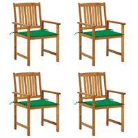 vidaXL Redateljske stolice s jastucima 4 kom od masivnog drva bagrema