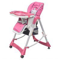 vidaXL Hranilica za bebe podesive visine Deluxe ružičasta